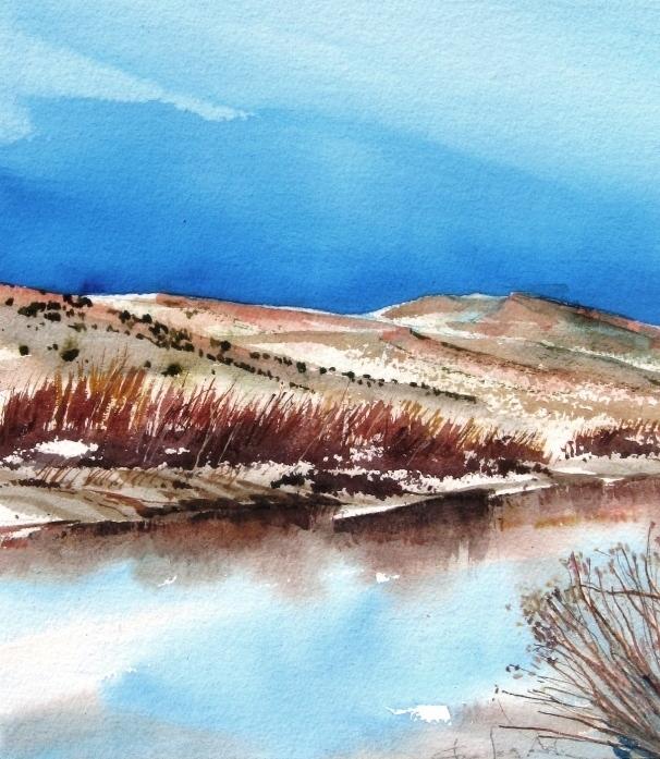 Rio Grande Near Hatch Watercolor Sketch By Charles Ash